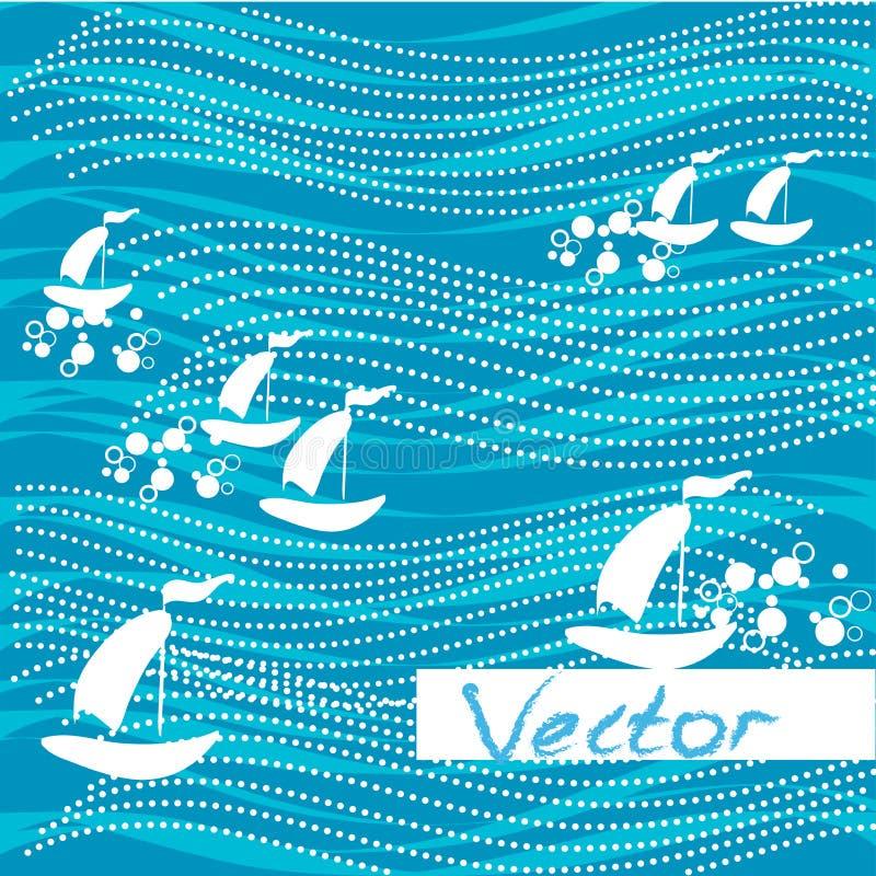 Tło wodnych fala statki Wektorowy abstrakcjonistyczny pojęcie projekt ilustracji