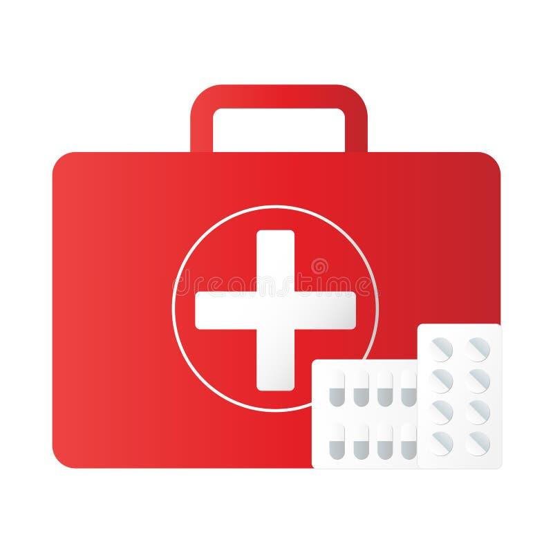 Tło wyposażenia zestawu pierwszej pomocy Instrumenty medyczne pomocy w nagłych wypadkach Ikona wektora ilustracji ilustracji