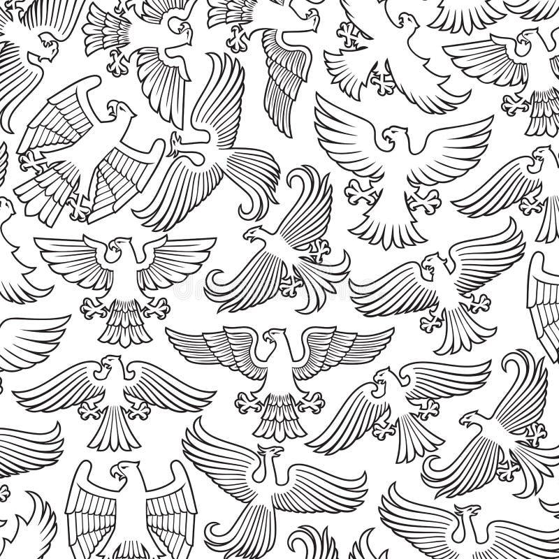 Tło wzór z heraldycznymi orłami royalty ilustracja