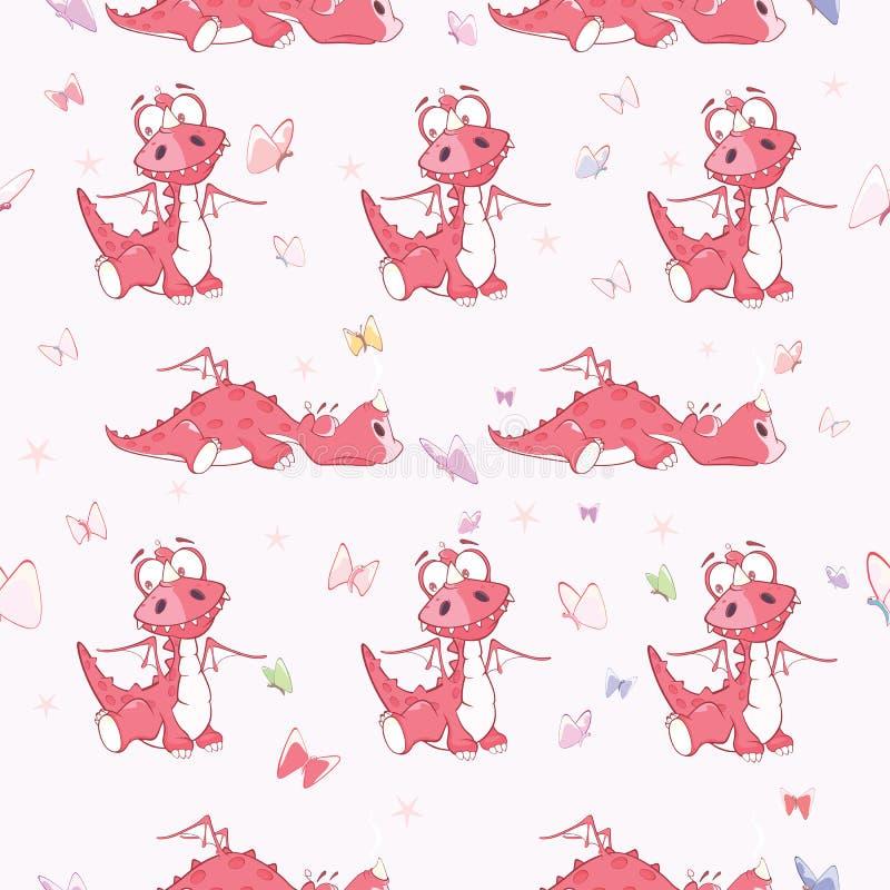 Tło z Ślicznymi Czerwonymi smokami bezszwowy wzoru ilustracja wektor