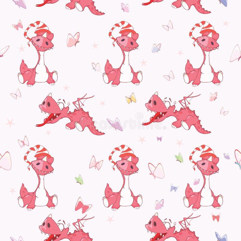 Tło z Ślicznymi Czerwonymi smokami bezszwowy wzoru ilustracji