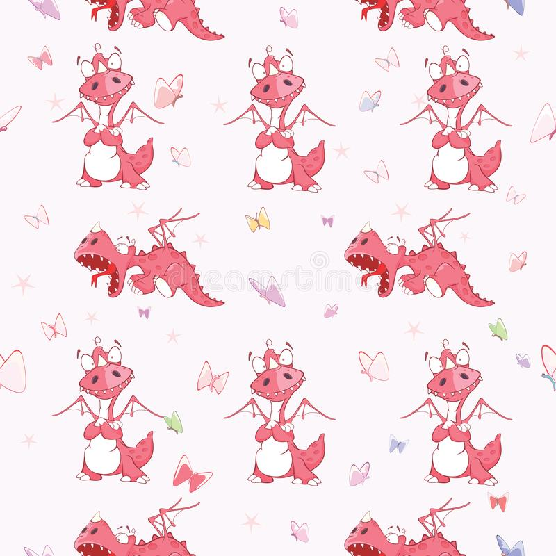 Tło z Ślicznymi Czerwonymi smokami bezszwowy wzoru royalty ilustracja