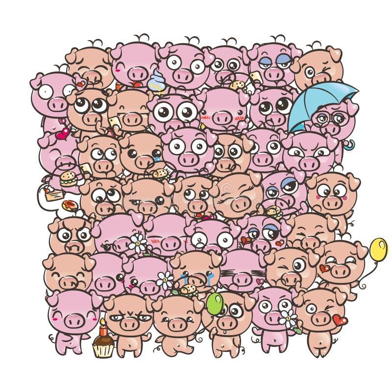 Tło z ślicznymi dziecko prosiaczkami Pastelowe kreskówka wizerunku kawaii świnie royalty ilustracja