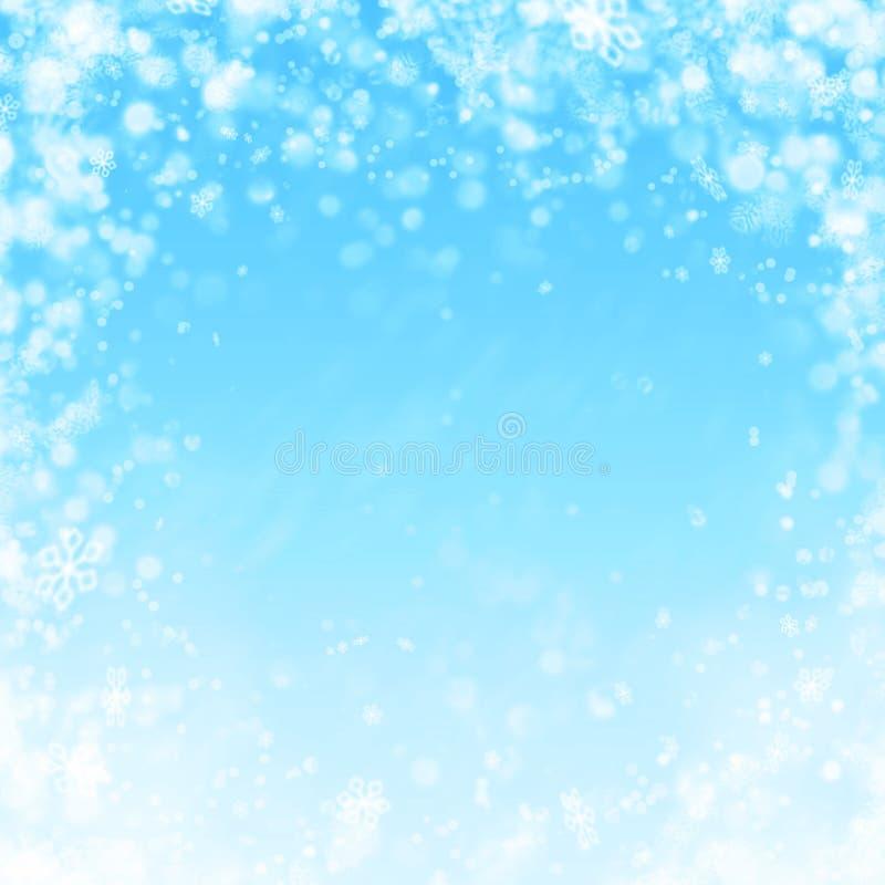 Tło z śniegiem i płatkami śniegu ilustracja wektor