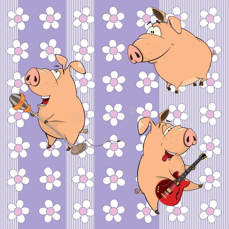 Tło z świniami ilustracji