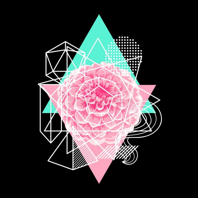 Tło z abstrakcjonistycznymi geometrycznymi kształtami i kwiatem Kreskowej sztuki druk ilustracja wektor