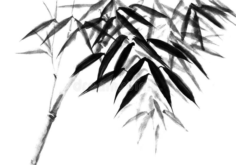 Tło z bambusowymi trzonami gałąź ogrodzenia postać r blisko nowego starego drzewa ilustracji