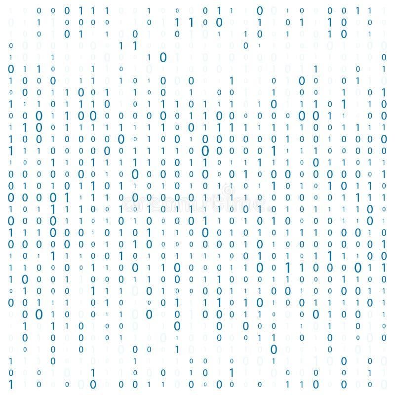 Tło Z cyframi Na ekranie Binarny kod zero jeden matrycowy biały tło sztandar, wzór, tapeta Abstrakt ilustracji