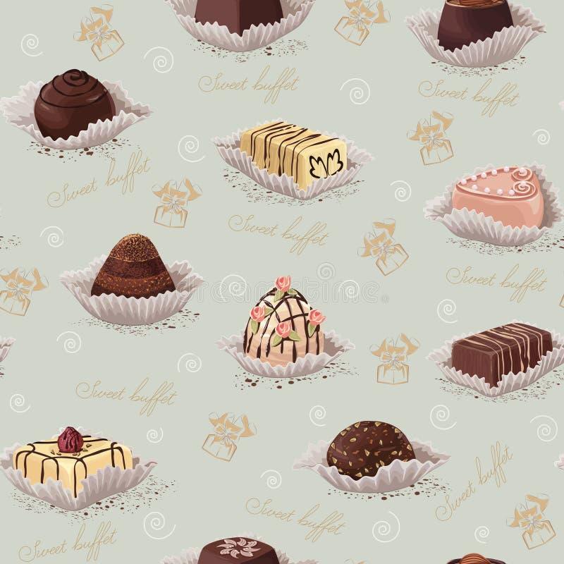 Tło z czekoladowymi cukierkami ilustracji