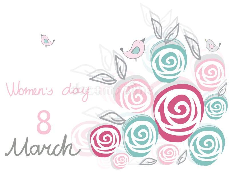 Tło z dekoracyjnymi kwiat różami, ptakami i ilustracji
