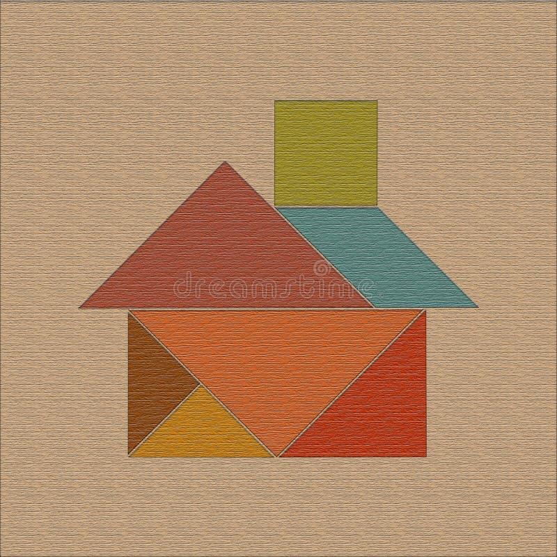 Tło z domem rozkładającym od kawałków łamigłówki tangram, drewniana tekstura zdjęcie stock