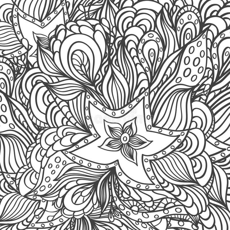Tło z doodle rozgwiazd gałęzatkami dla barwić stronę ilustracja wektor