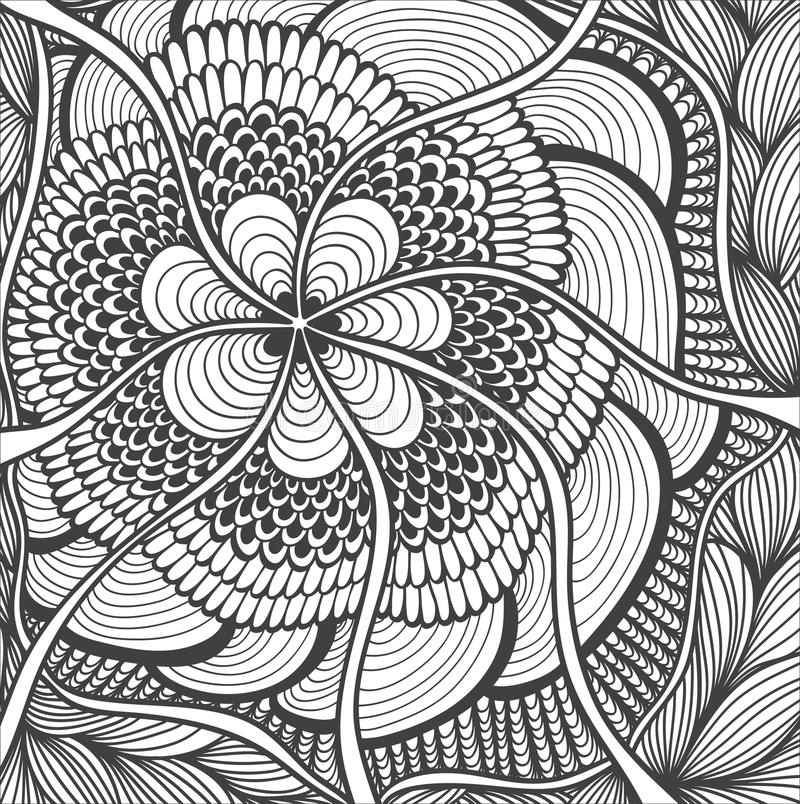 Tło z Doodle wzoru czernią na bielu ilustracja wektor