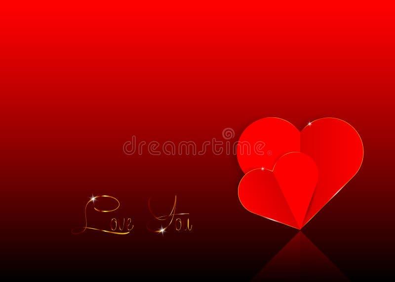 Tło z dwa czerwieni papierowymi sercami w wycinankę, walentynka dnia pojęcie w zmroku - czerwony tło ilustracji