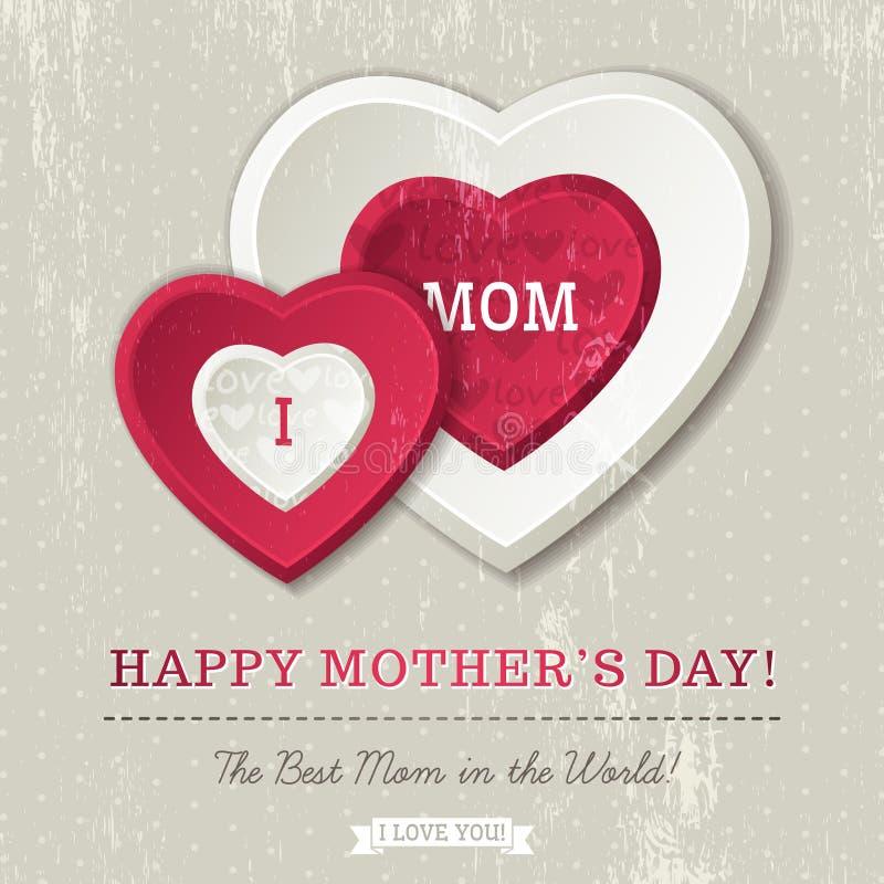 Tło z dwa serc i życzeń tekstami dla matka dnia ilustracji