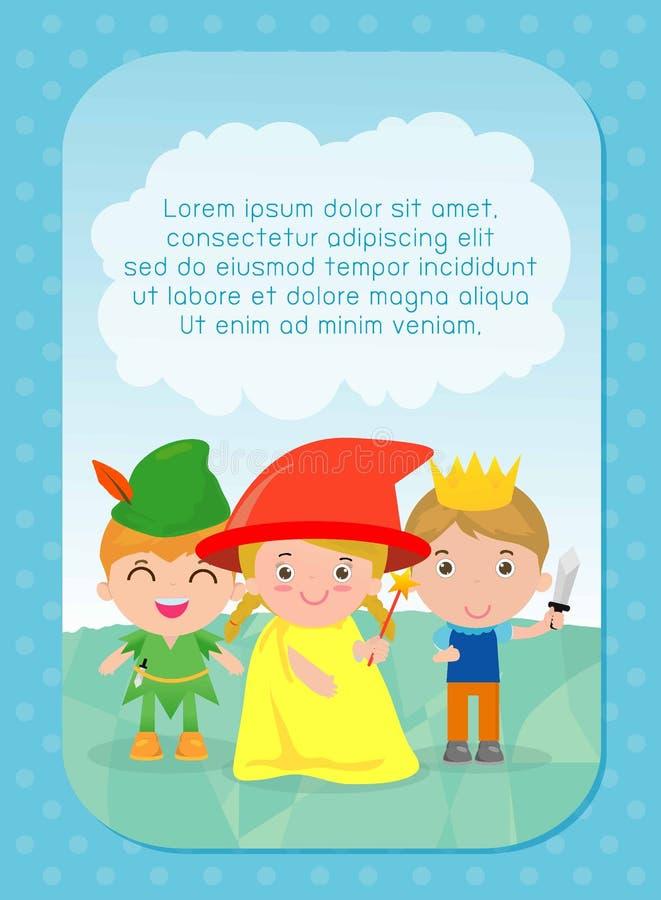 Tło z dzieciakami, dzieciakami i bajki opowieścią, szablon dla reklamowej broszurki, twój tekst royalty ilustracja