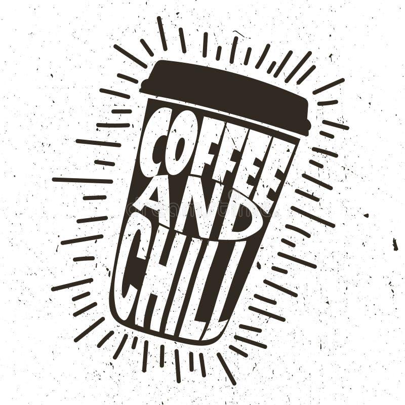 Tło z filiżanką iść i tekstem Kawa i chłód ilustracji