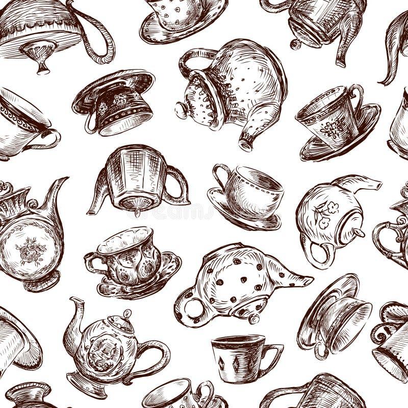 Tło z filiżankami i teapots royalty ilustracja