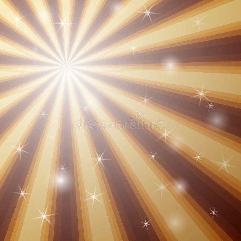 Tło z jaśnienie gwiazdą z rozbieżnym plikiem promienie w złotych i brown kolorach royalty ilustracja