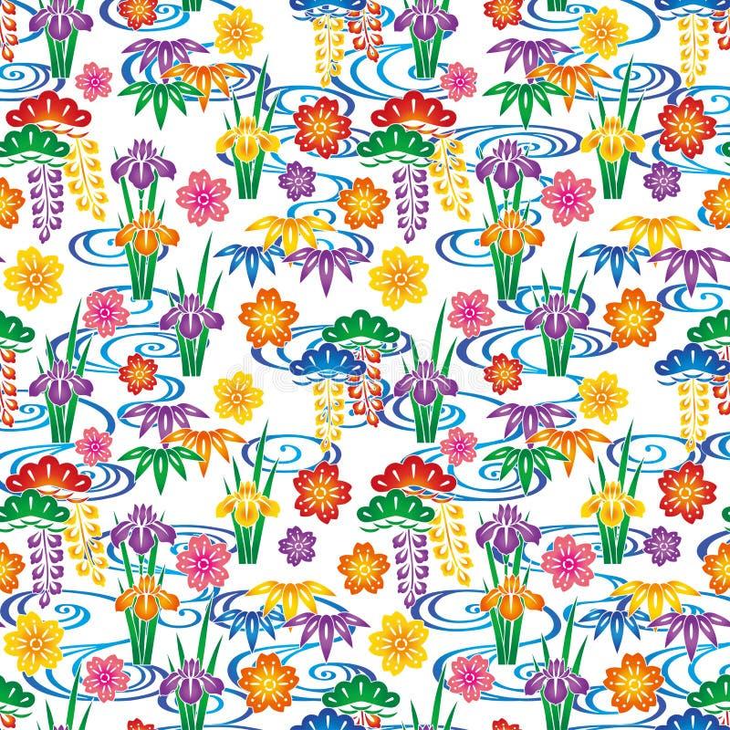 Tło z japończyka zawijasem i kwiatami. ilustracji