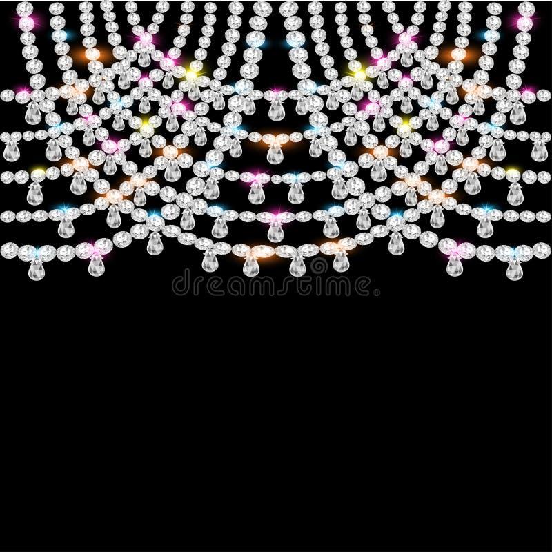 Tło z jeweled breloczkami na czerni royalty ilustracja