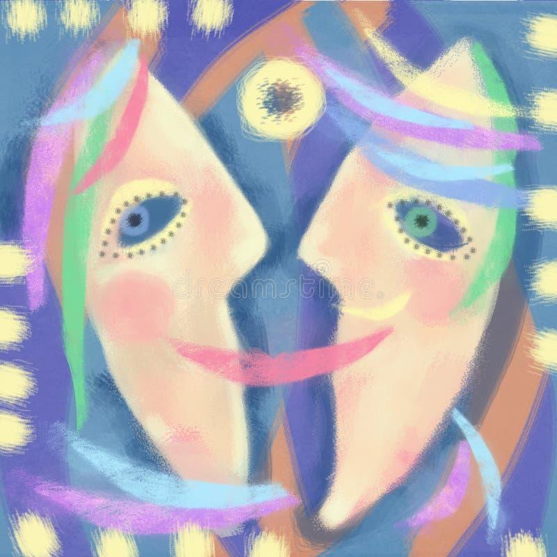 Tło z karnawałowymi maskami Abstrakcja dialog ilustracja wektor