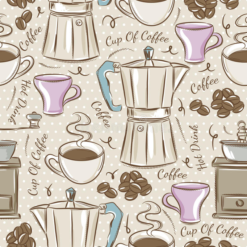 Tło z kawa setem royalty ilustracja