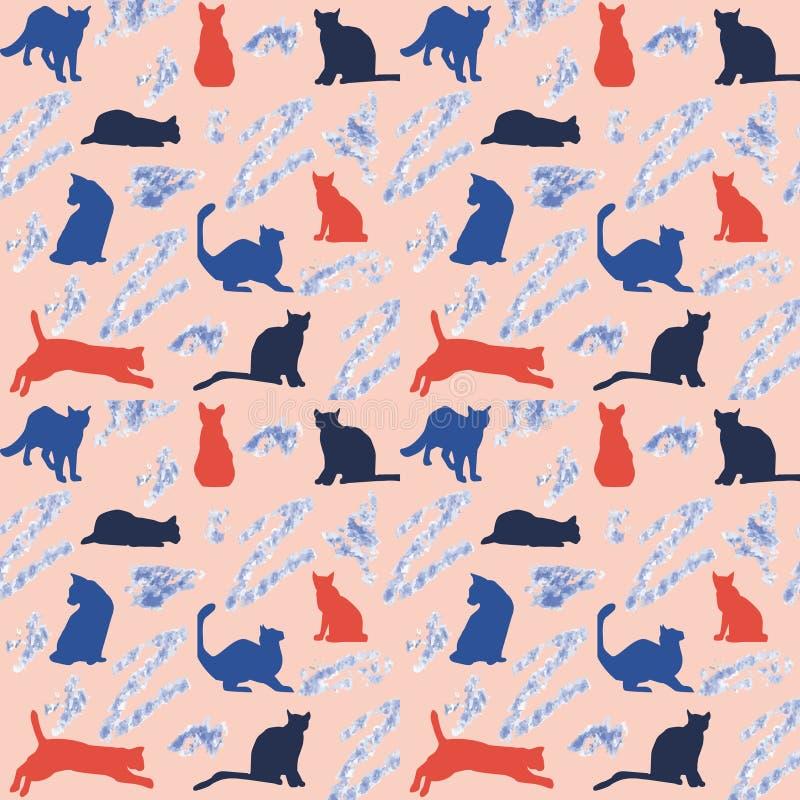 Tło z kolorowymi kotami ilustracji