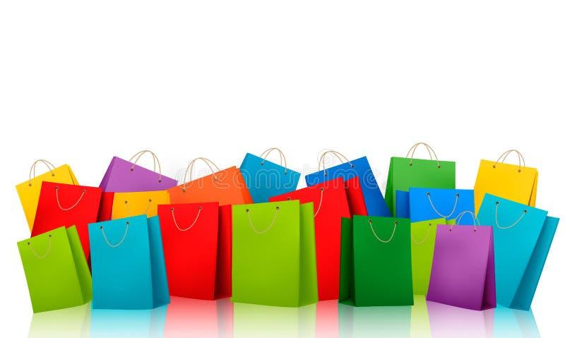 Tło z kolorowymi torba na zakupy. Dyskontowy c ilustracji