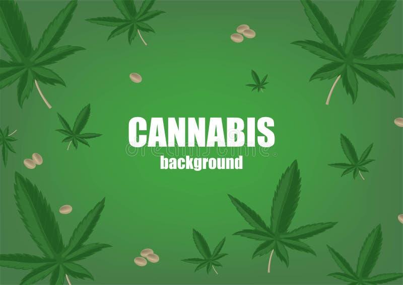 T?o z konopianymi marihuan ziarnami, ro?lin? i Superfood Kosmetyczna i medyczna ro?lina Realistyczna wektorowa ilustracja royalty ilustracja