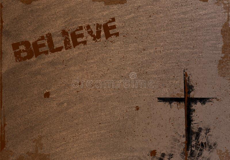 Tło z krzyżem i Wierzy ilustracja wektor