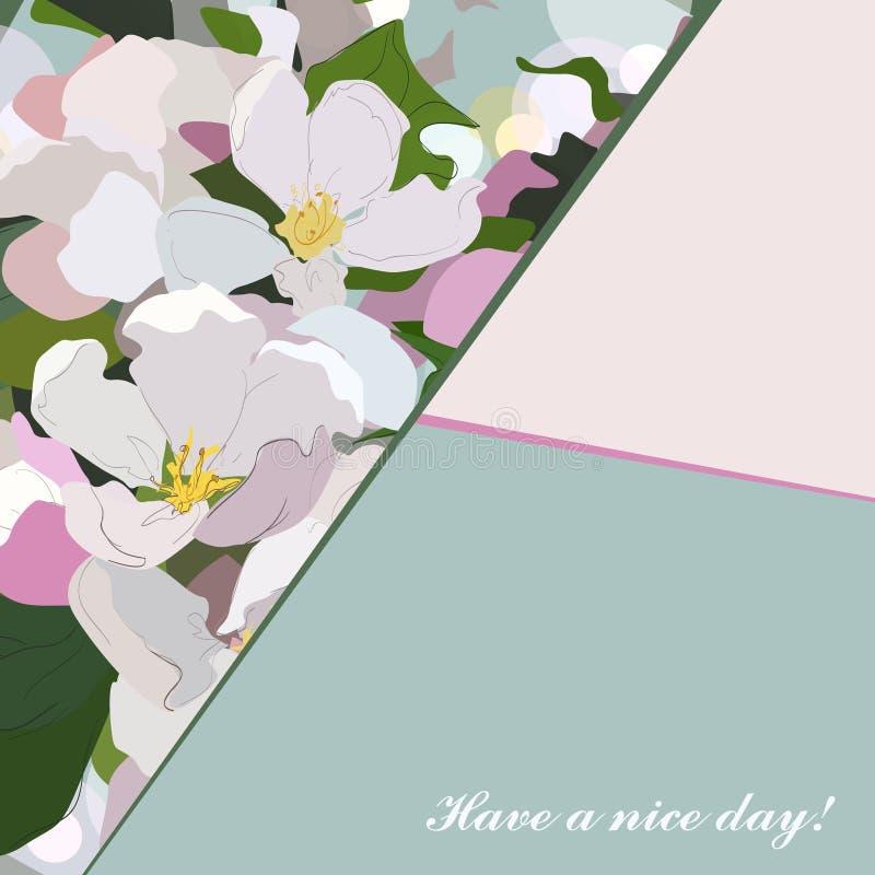 Tło z kwiatami jabłko 2007 pozdrowienia karty szczęśliwych nowego roku Jabłczany okwitnięcie, ilustracja wektor