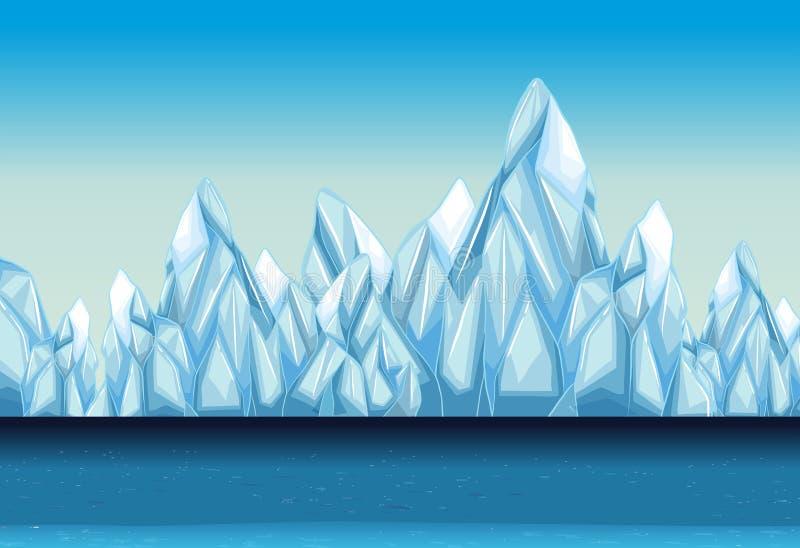 Tło z lodowem i oceanem ilustracji