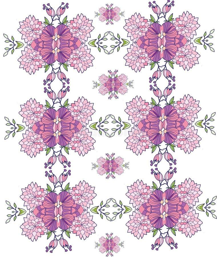 tło z menchiami kwitnie w wzorze powtórkowym, symetryczny, ilustracji