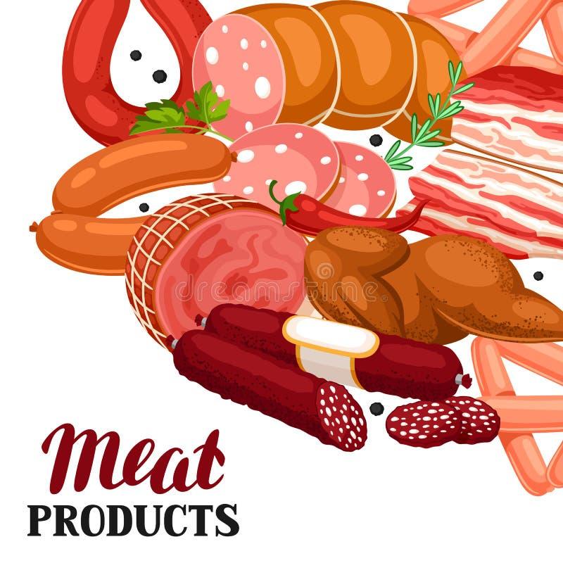 Tło z mięsnymi produktami Ilustracja kiełbasy, bekon i baleron, royalty ilustracja