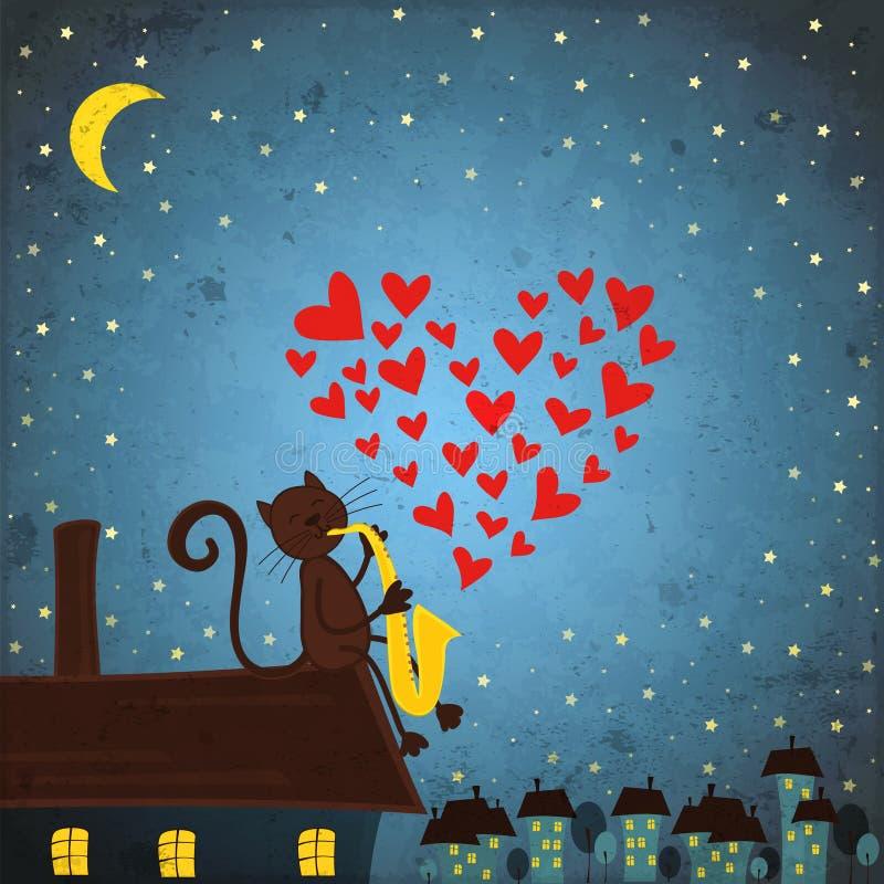 Tło z nocnym niebem, kotem i saksofonem, ilustracja wektor