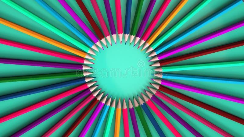 Tło z ołówkami różni kolory ilustracja wektor