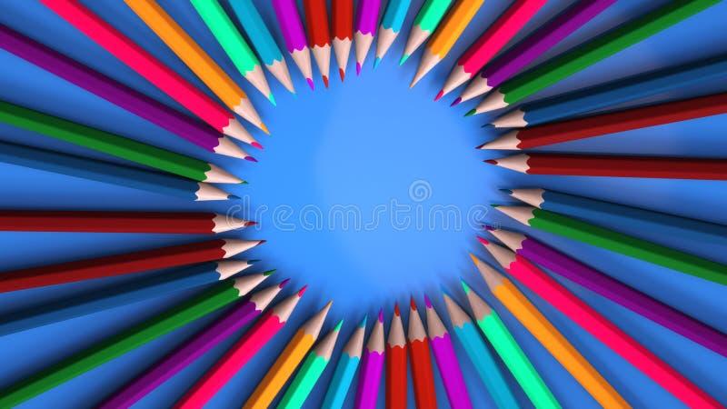 Tło z ołówkami różni kolory ilustracji
