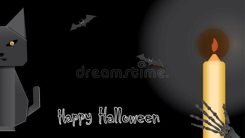 Tło z origami kotem, nietoperzami, duch ręką i Szczęśliwym Halloweenowym literowaniem, ilustracja wektor