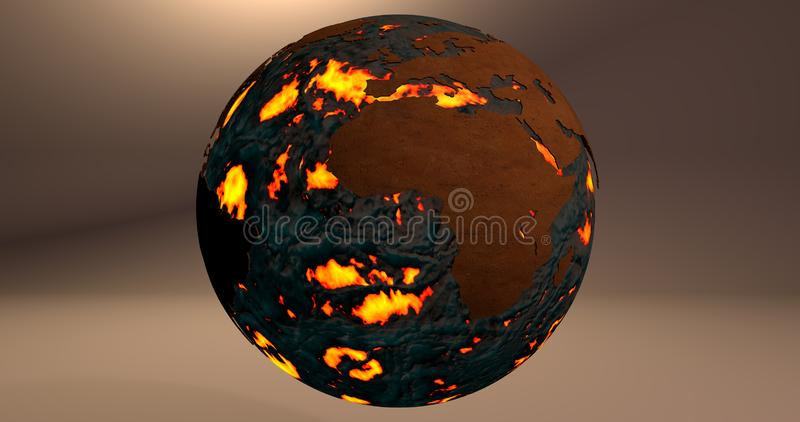 Tło z planety ziemią robić ogień i lawa która pokazuje Afryka kontynent, ilustracja wektor