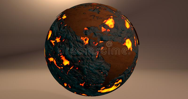 Tło z planety ziemią robić ogień i lawa która pokazuje Ameryka kontynent, royalty ilustracja