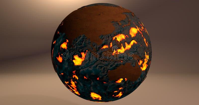 Tło z planety ziemią robić ogień i lawa która pokazuje Australia i Azja kontynenty, ilustracji