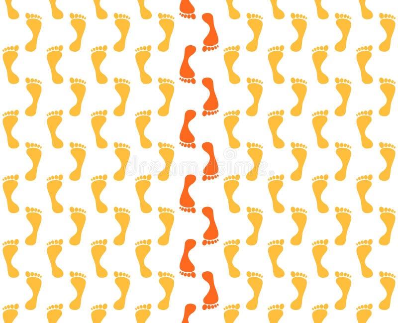 Tło z pomarańczowymi odciskami stopy które chodzili naprzód z czerwonymi odciskami stopy w środku na białym tle ilustracja wektor