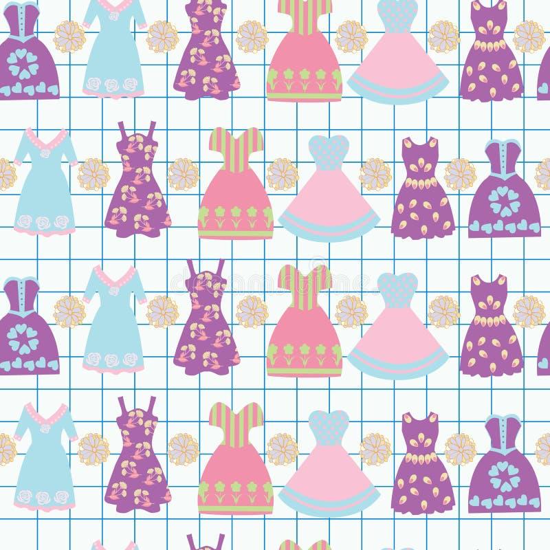 Tło z różnorodnymi żeńskimi odzieży mody sukniami royalty ilustracja