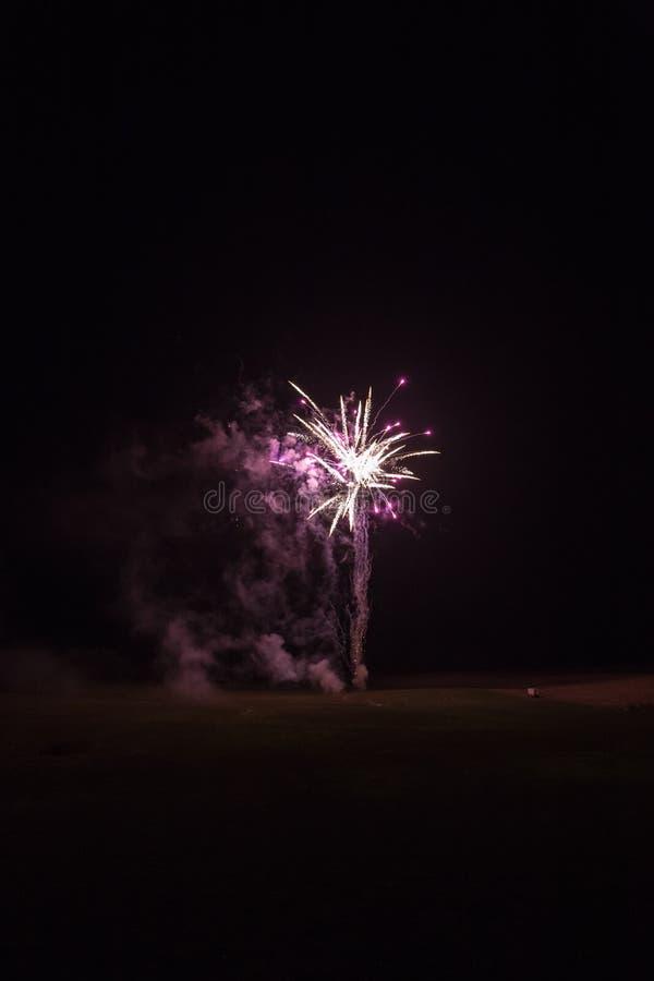 Tło z Różowym i Złotym fajerwerkiem z Bezpłatną przestrzenią dla teksta fotografia stock