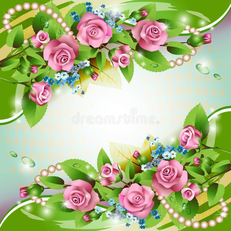 Tło z różowymi różami ilustracja wektor