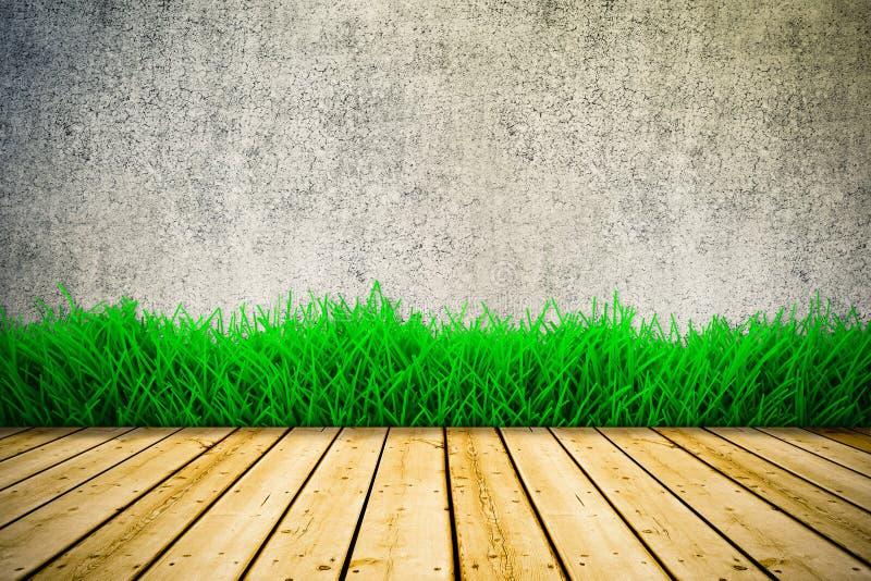 Tło z rocznik ścienną i zieloną trawą ilustracji