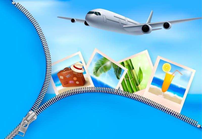 Tło z samolotem z fotografiami od holi i ilustracji