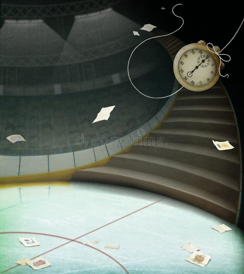 Tło z schodkami i zegarem ilustracja wektor