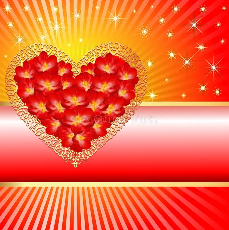 Tło z sercem w promieniach i kolorach ilustracja wektor